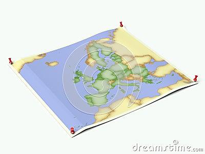 European Union on unfolded map sheet