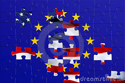 European and Usa puzzle flag