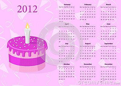 European Vector calendar 2012 with cake