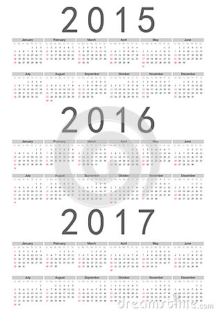European 2015, 2016, 2017 Year Vector Calendar Royalty Free Stock ...