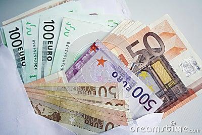Euro bank notes background