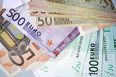 Euro bank notes  background