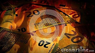 Euros Banknotes Rotating In Fire banque de vidéos