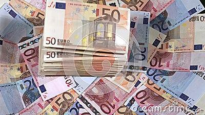 Euros Bills Falling stock videobeelden
