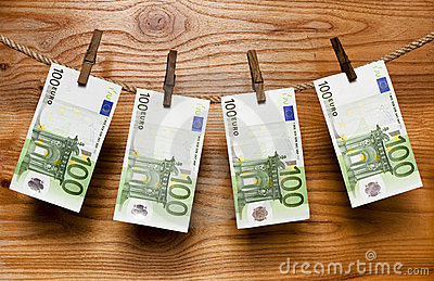 Euros hang on clothes-peg