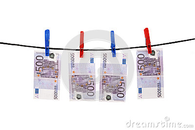 Euros hanging on a rope