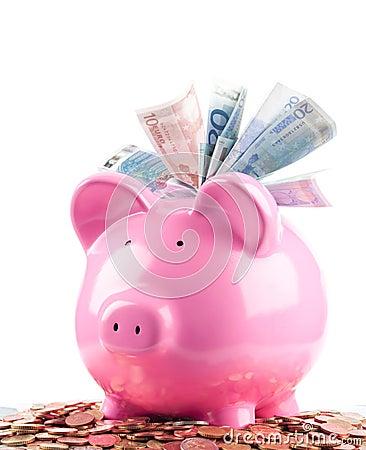 Free Euros In Piggy Bank Stock Photos - 17483583