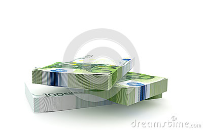 100 Euros money stack isolated on white background
