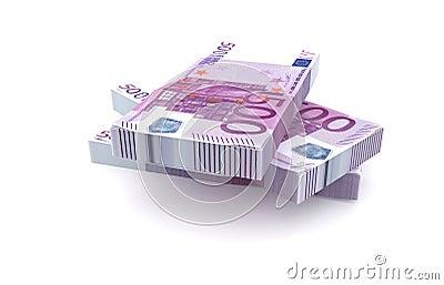 500 Euros money stack isolated on white background