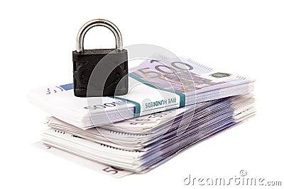 Euros and padlock