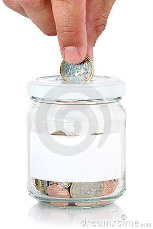 Euros in saving jar