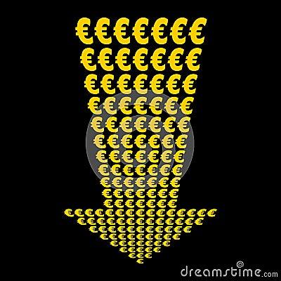 Euros symbol down arrow