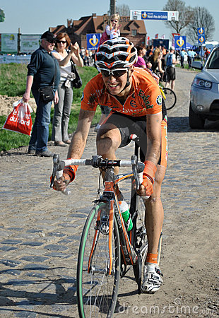 Euskaltel rider in Paris Roubaix Editorial Stock Image