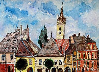 Evangelical Church Tower from Sibiu Transylvania