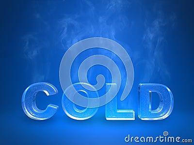 Evaporating icy cold enscription on a blue studio