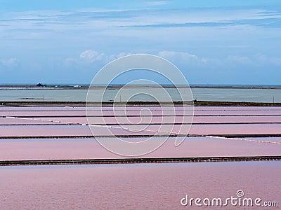 Evaporation ponds of saline refinery saltworks