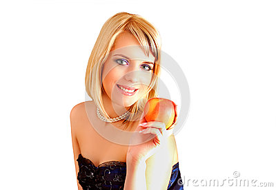 Eve and the apple Stock Photo