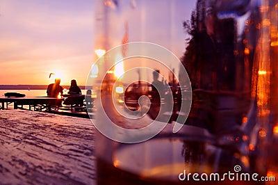 Evening in a beergarden