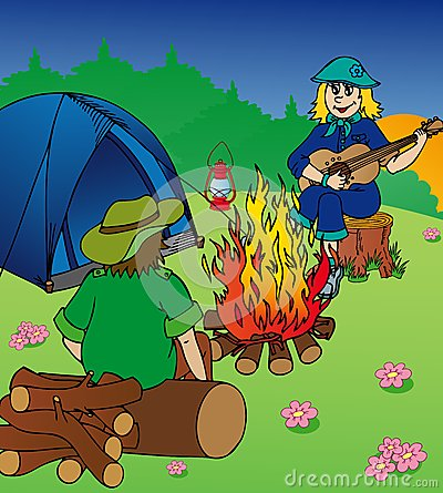 Evening camping by campfire