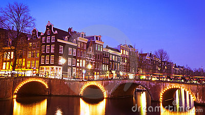 Evening at a canal in Amsterdam, the Netherlands