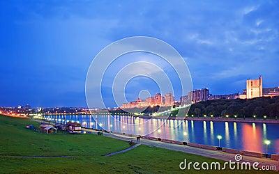 Evening city Cheboksary, Chuvashia, Russian Federation.