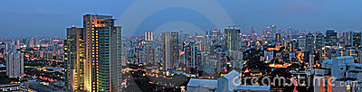 Evening City Skyline Panorama Singapore