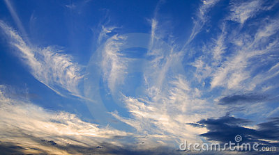 Evening clouds in deep blue sky