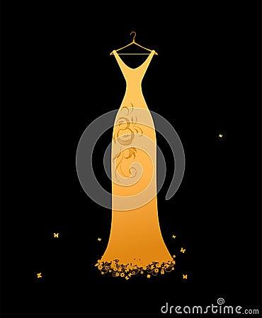 Evening dress golden on hangers