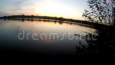 Evening Fishing. Routine of fishing. Is the fishing in the evening. This is an Evening Fishing of carp at Sunset. Really nice colours and pleasure feelings stock video