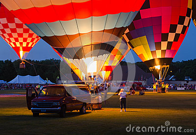 Evening Glow Hot Air Balloon Festival Editorial Stock Image