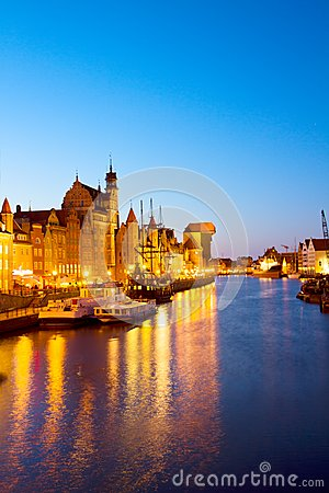 Evening lights of Motlawa quay, Gdansk