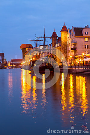 Evening lights over  Motlawa river, Gdansk
