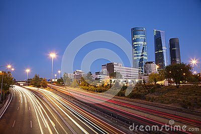 Evening at Madrid highway