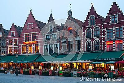Evening Market Square in Bruges Editorial Image