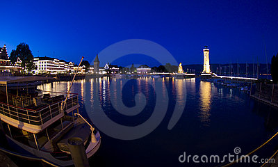Evening mood at the port of Lindau Editorial Stock Image