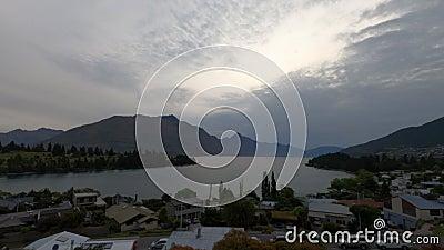 Evening mood timelapse in Queenstown, Lake Wakatipu, Otago, South Island, New Zealand, Oceania. stock video