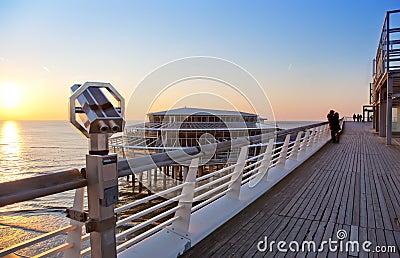 Evening by north sea pier