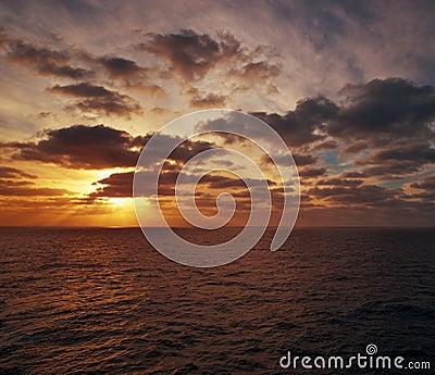 Evening over an ocean
