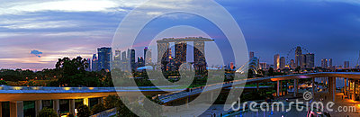 Evening over Singapore from Marina Barrage Editorial Image