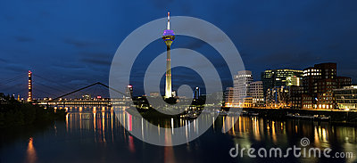Evening panorama of the Media Harbor in Dusseldorf Editorial Photo