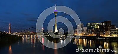 Evening panorama of the Media Harbor in Dusseldorf Editorial Photo