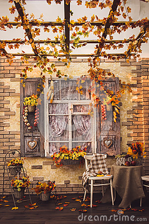 Free Evening Patio. Window With Vintage Shutters Royalty Free Stock Photos - 76334118