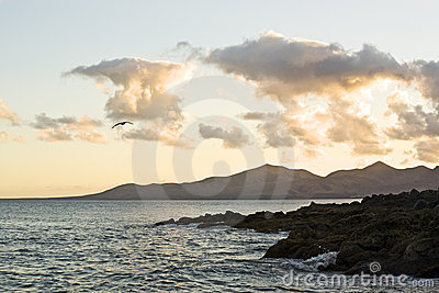 Evening at rocky coast of Lanzarote