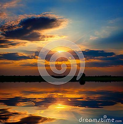 Evening scene over lake