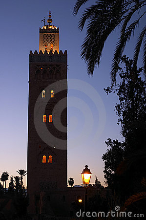 Evening shot of the koutoubia mosque Marrakech