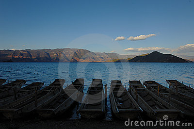 Evening of silent Lugu Lake