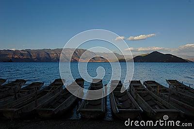 Evening of silent Lugu Lake
