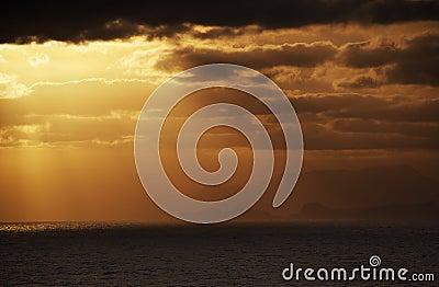 Evening sky over an ocean