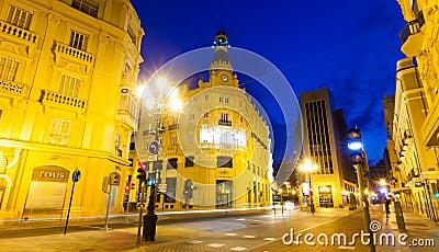 Evening street in Castellon de la Plana, Spain Editorial Photo