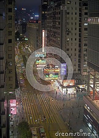 Evening Street Scene Hong Kong Editorial Photography